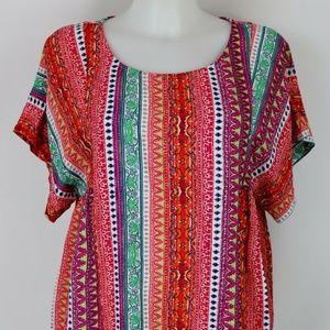 Mauve Red Flowy Short Sleeve Blouse Size Small